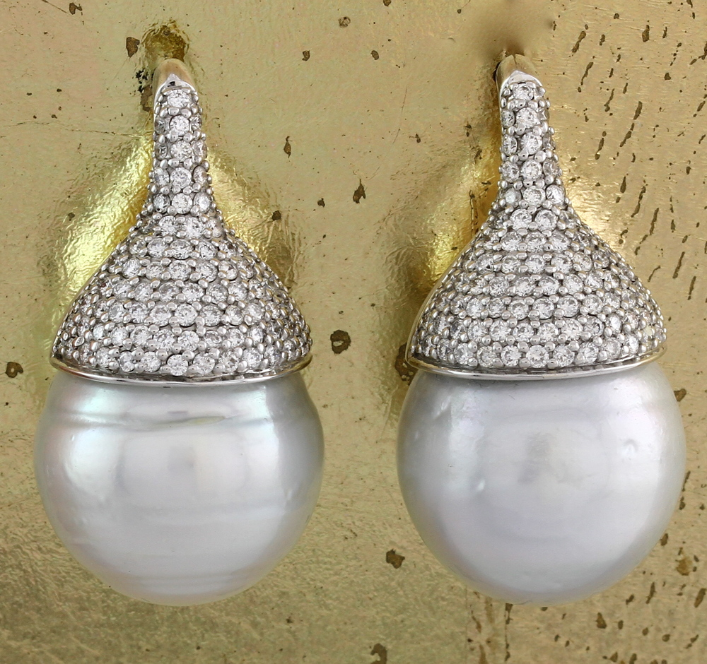South Sea Pearl Earrings With Diamonds  Item No: 0012682