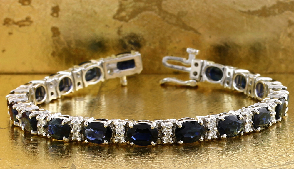 Tennis Bracelet with Oval Sapphires & Round Diamonds - Item No: 0010641
