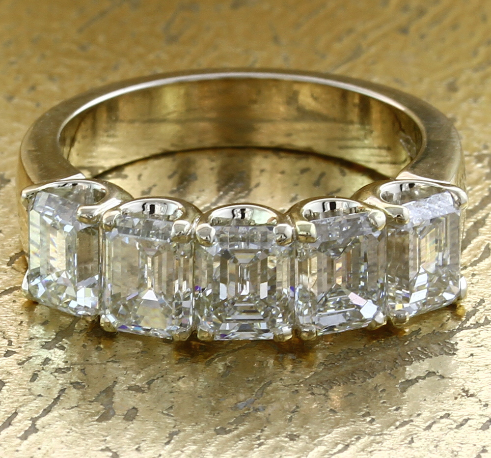 Wedding Band 5 Emerald Cut Diamonds - Item No: 0013814