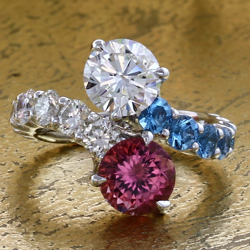 Toi et Moi Ring Diamond & Pink Tourmaline with Blue Topaz - Item No: 0013827