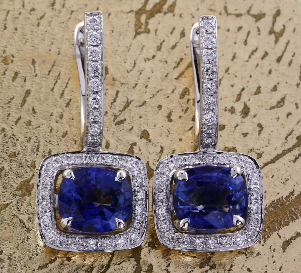 Sapphire & Diamond Earrings - Item No: 0013797