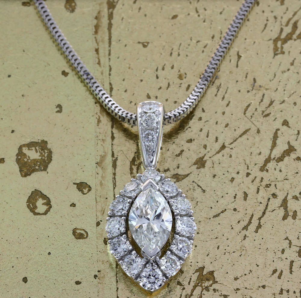 Marquise & Round Diamond Pendant - Item No: 0013822