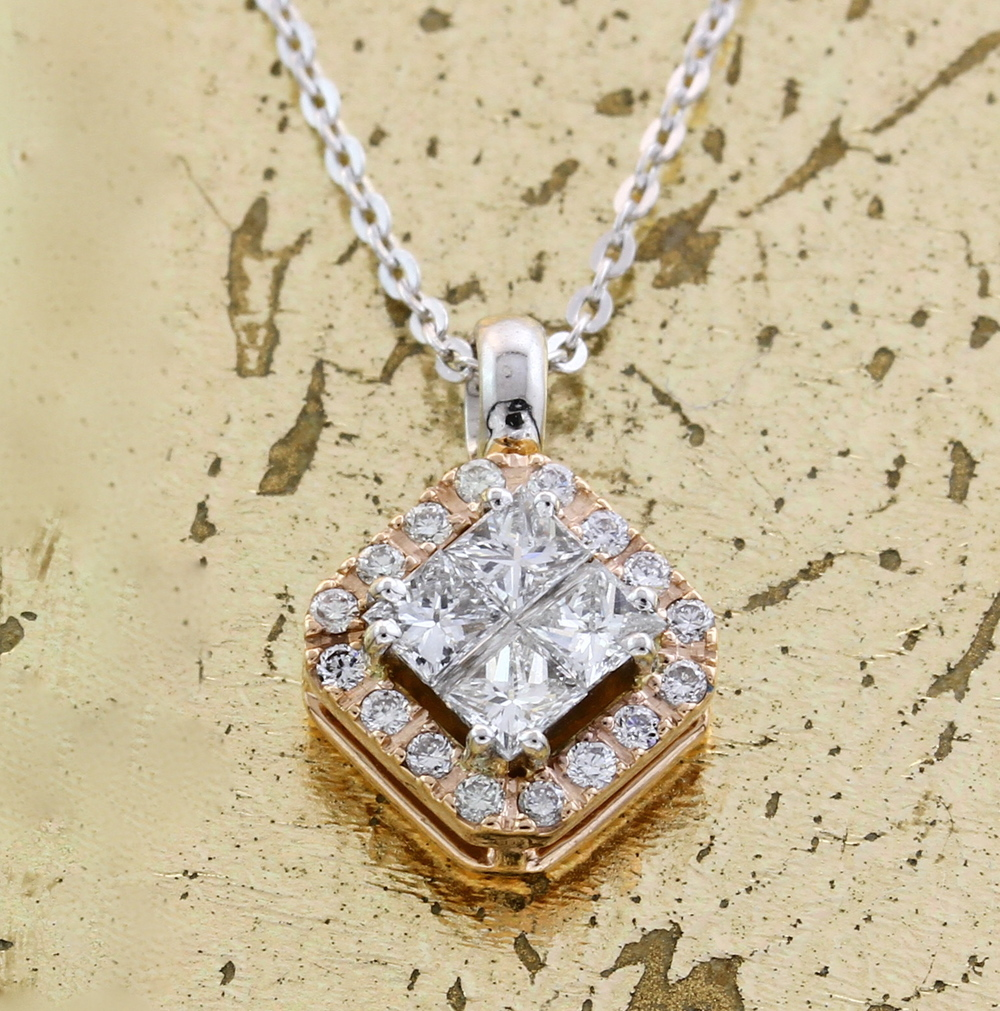 Pendant with Princess & Round Diamonds - Item No: 0013867