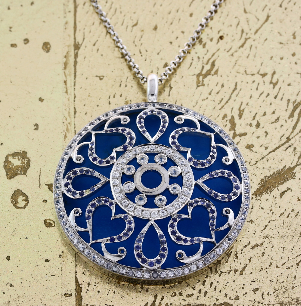 Pendant with Chain Turquoise and Sapphires - Item No: 0013869