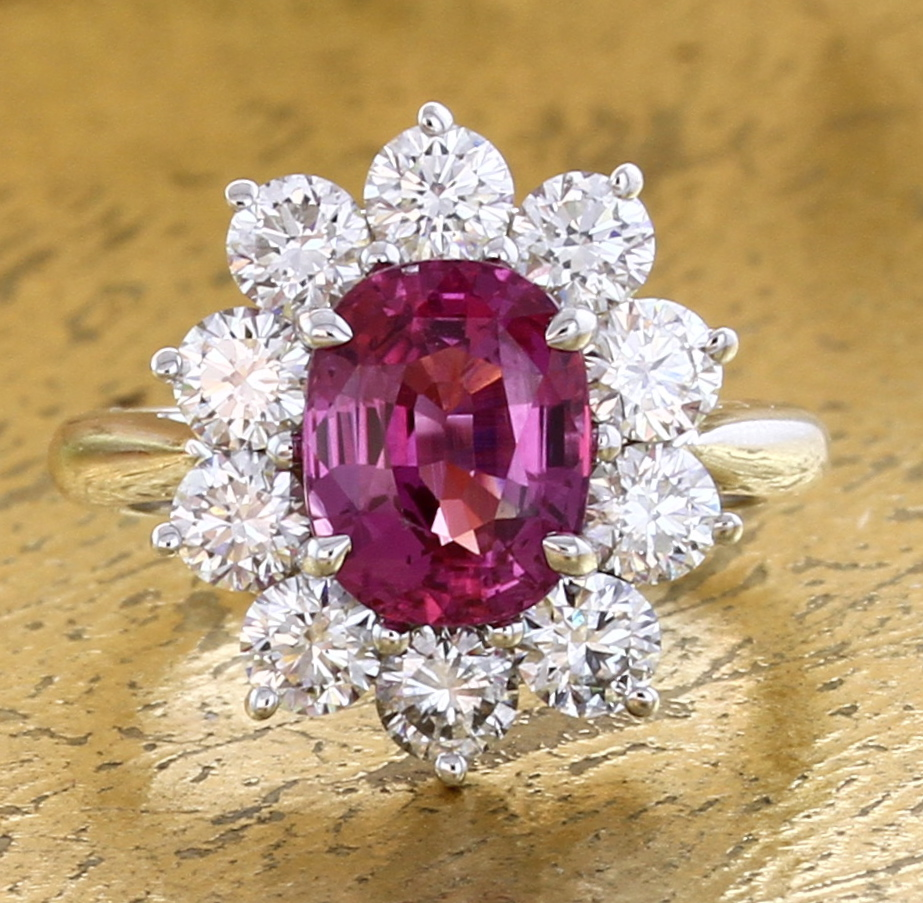 Halo Ring Pink Sapphire & Diamonds - Item No: 0013969