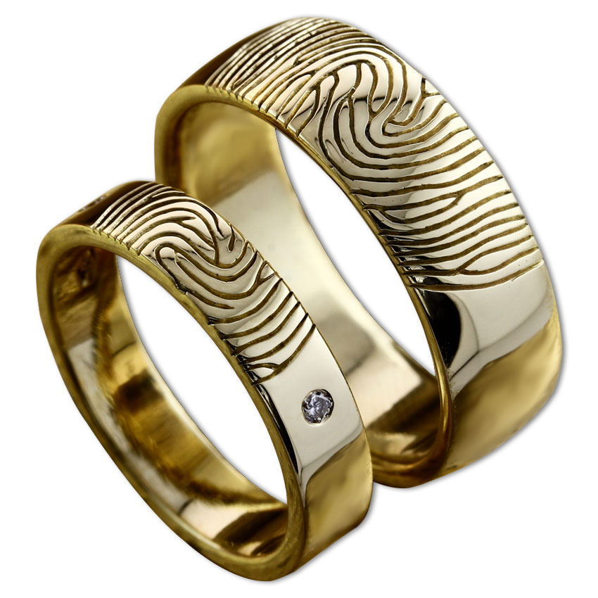 Fingerprint Wedding Rings Customised Engagement Rings in Dubai