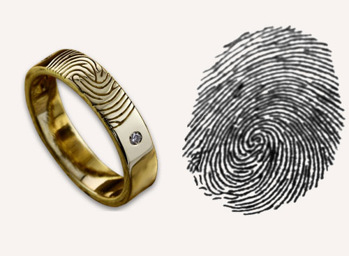 Fingerprint Wedding Rings - A wedding band symbolises a couple's infinite bond. Make sure it's extra special with our unique design which enables you to have each other's fingerprints engraved onto your wedding band.