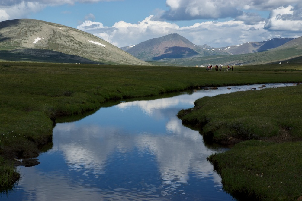 Myangan Bulag area of Ulaan Taiga ( Thousand Springs of Red Taiga) is located in the East taiga of northern Huvsgul province in Mongolia. It is home to the Tsaatan people and their reindeers.