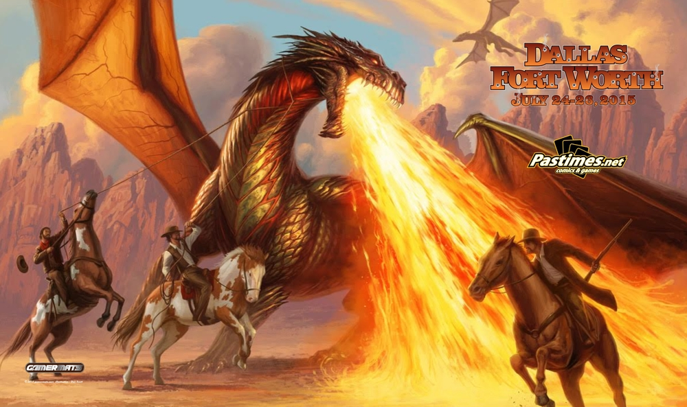 Art by Dan Scott.  Who wins, Dragons or Cowboys? Don't Mess with Texas!!