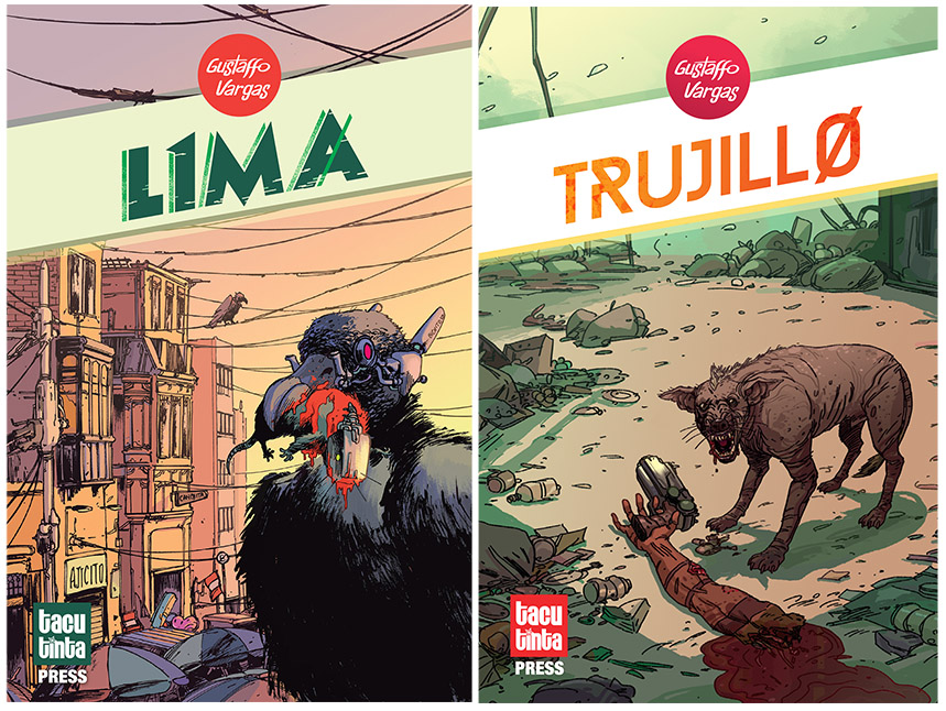 GUSTAFFO VARGAS - Gustaffo will be selling copies of his Peruvian Cyberpunk Comics L1MA: a comic about pirañas, vultures, robots and mafias and TRUJILL0: a comic about gangsters, shamans, drugs and dogs.He will also be selling copies of Madius' Cicadian Rhythms: a one shot about myths, dragons, fisticuffs and tales of derring-do; also available Original Pages, A4 & A3 Posters and Postcards.Gustaffo will be also drawing commissions on the day.WEBSITE