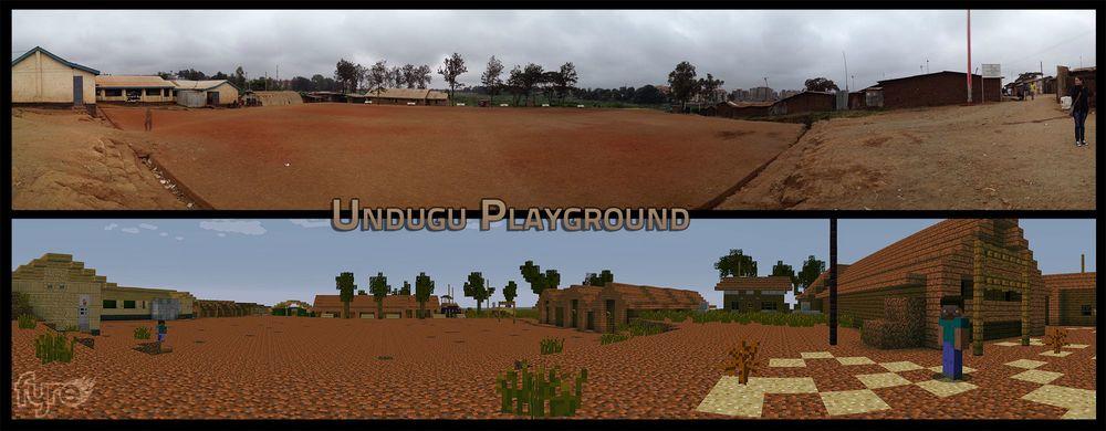 Reale (oben) und Minecraft-Welt bei BlockbyBlock