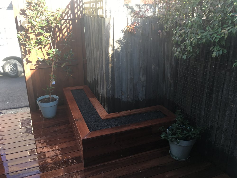 Carlton Courtyard. Jarrah Decking. Raised Vegetable Garden.