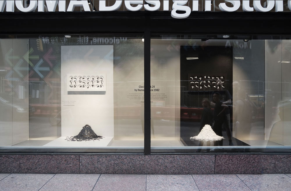 "Installation view. ""Fall / Winter"" installation including ClockClock 24 at MoMA store window, New York, 2017. Photo: Anna Heck"