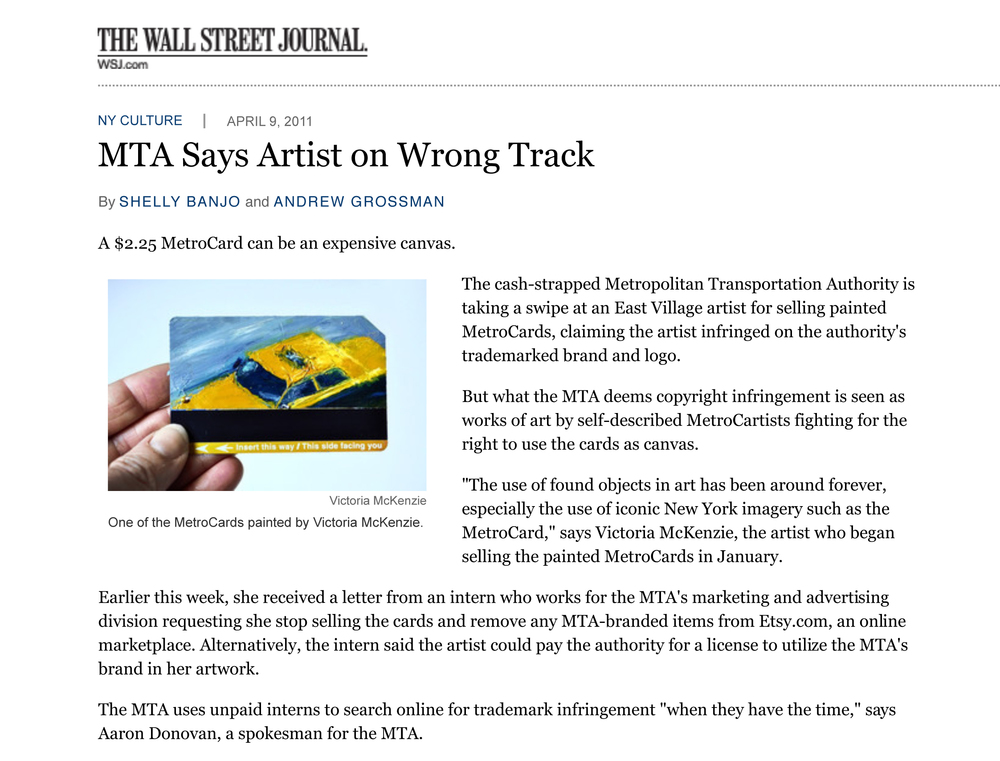MTA Says Artist on Wrong Track - WSJ.com