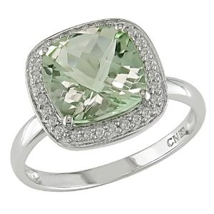 10k White Gold Green Amethyst and Diamond Ring,( .1 cttw, G-H Color, I1-I2 Clarity).jpg
