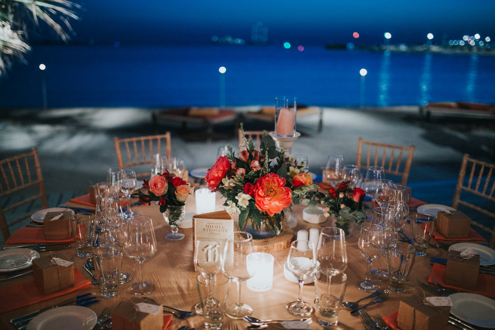 wedding by sea night