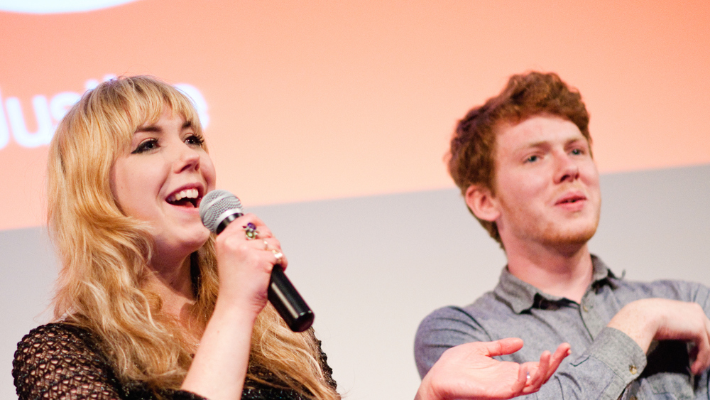 Joe and Sarah, members of the improvised comedy troupe The Improverts, hosted the first Salon event
