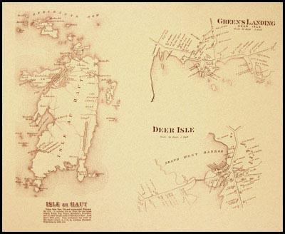 1880s Map Isle au Haut Greens Landing Deer Isle Penobscot Books
