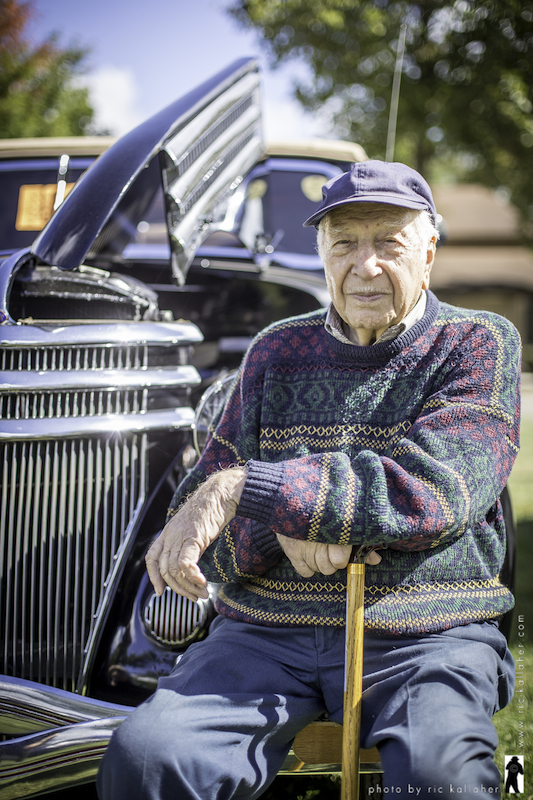 Frank Saduto, Veteran of the Battle of the Bulge, and his 1936 Ford