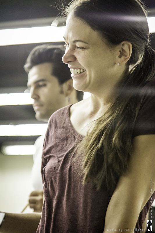 "It's not all hard work.  Sutton Foster has a lighter moment during rehearsals at CAP 21 Studios for Beth Turcotte and Ben Clark's ""THE CIRCUS IN WINTER"" at the 2012 NAMT Festival of New American Musicals.  She was also a backer of the production."