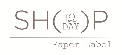 Paper Label 12 DAY SHOP logo.  Shop is open December 8-20th.