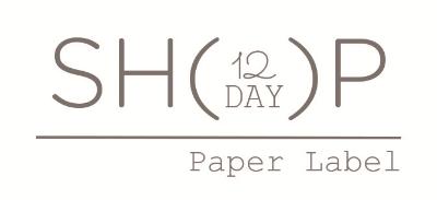 Paper Label 12 DAY SHOP logo. Shop is open December 8-20th.