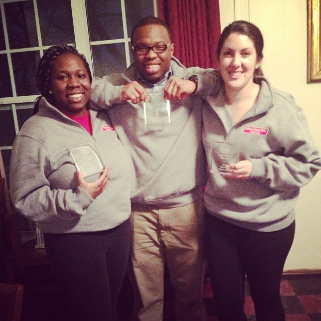 Deb O'Neal (left), Zowoi Malakpa (center) and Lauren Yates from the A Team after winning outstanding witness awards at the Washington, PA regional.