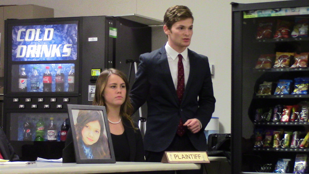 Adam Korn makes his arguments on behalf of his client, portrayed by Julia Luna.
