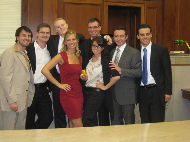 Miami Mock Trial 2009 Beach Party Champions: Back Row: Jeremy Grondin, Kevin Harrison, Pavel Gurevich, Tommy Jeffcott Front Row: Jaime Glinka, Jackie Sherrick, Alex Bluebond, and Gus (Kostandinos) Lazares.