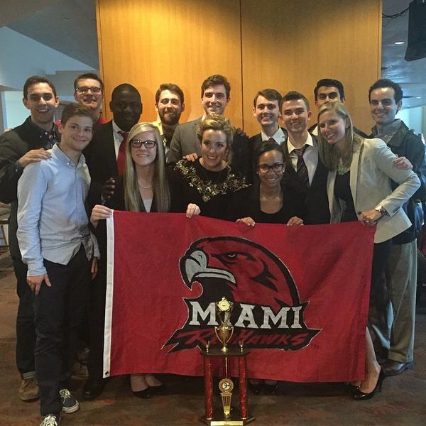Miami 1075 (Left to Right): Alex Block (Coach), Adam Korn (2017), Neal Schuett (Coach), Imokhai Okolo (2017), Dani Kunkel (2018), Ben Sandlin (2016), Matt Meeks (2015), Katie O'Keeffe (2017), Henry Leaman (2017), Jazmine Kee (2017), John Spear (2016), Najeeb Ahmed (2016), Jaime Glinka (Coach), Gus Lazares (Coach).