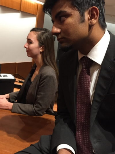 Sophomore Julia Pair (left) and Freshman Eashwar Nagaraj (right) prepare for the fourth round.