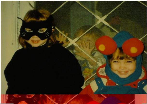 My cousins and I on halloween. No, I'm not a lobster, I'm an alarm clock.