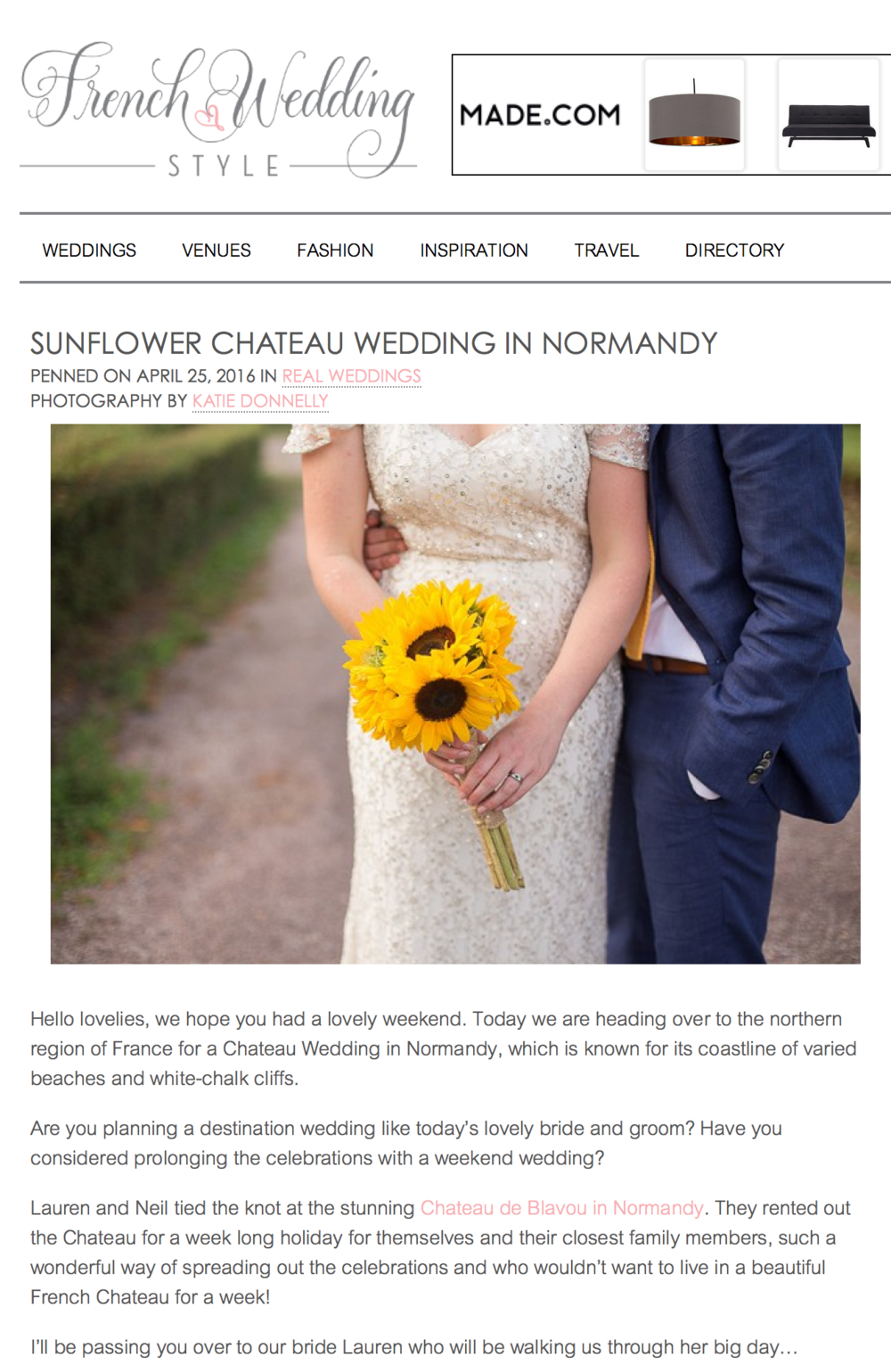 Sunflower Normandy Destination Wedding in Chateau