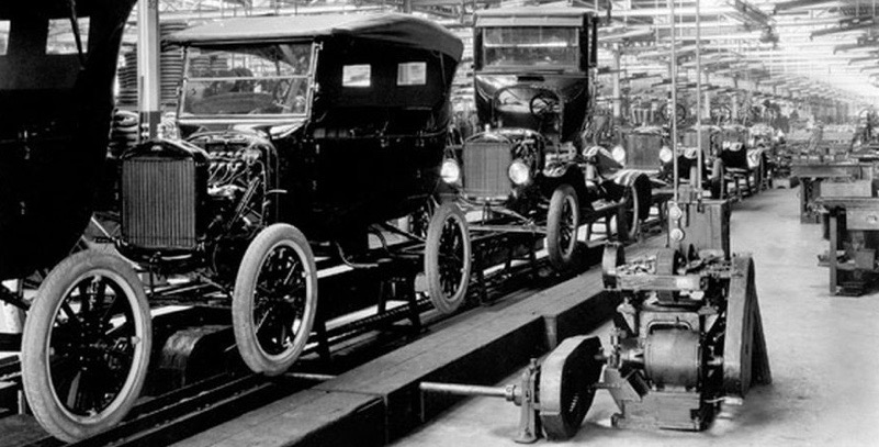 "Model T Ford production line, ""you can have any colour you want, as long as it's black"""