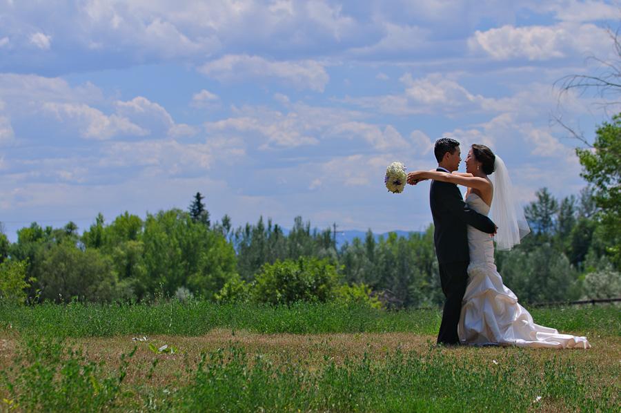Denver wedding Cherry Hills Park bride and groom portrait