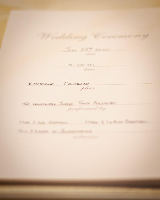 Wedding program for a wedding in keystone colorado