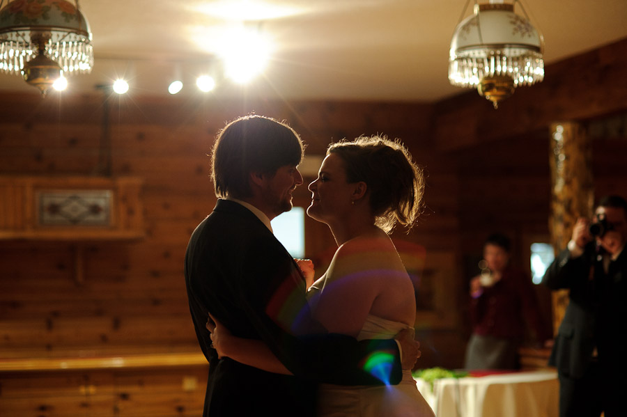 bride and groom first dance at Wild Basin Lodge in Roosevelt National Forest Colorado