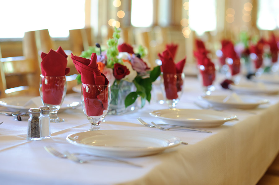 red napkins in glasses and table settings at Wild Basin Lodge in Roosevelt National Forest Colorado