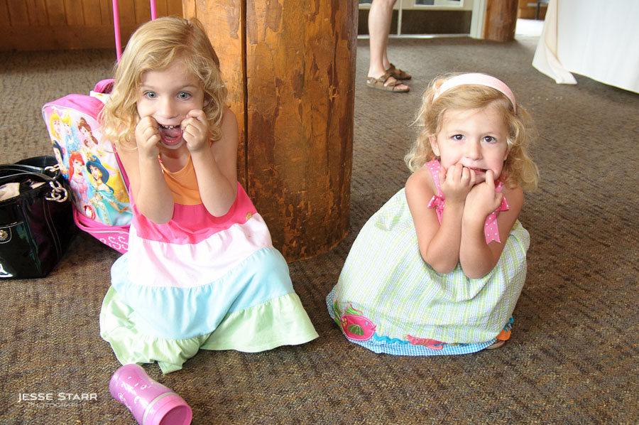 Flower girls at wedding in Keystone making funny faces