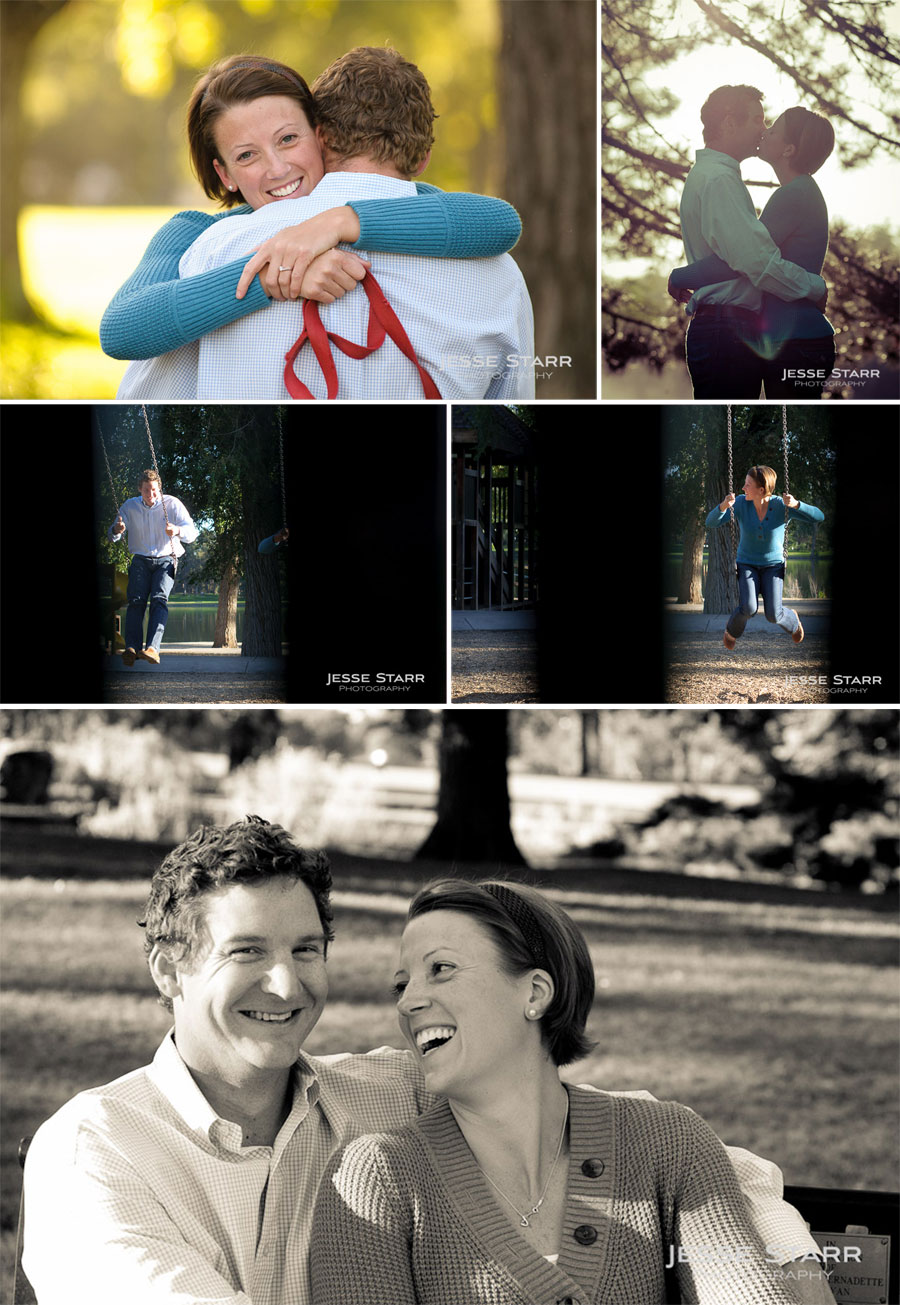 Engagement portrait composite in washington park, colorado of Kevin and Shannon