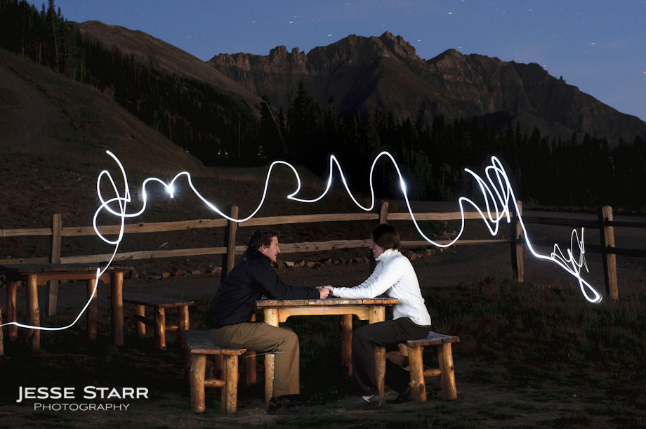Guy and girl holding hands and sitting at table in Telluride Colorado