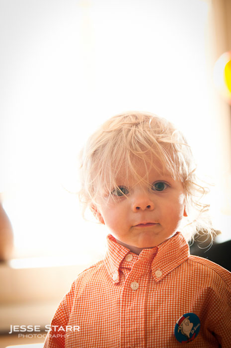 Portrait of baby at adoption party