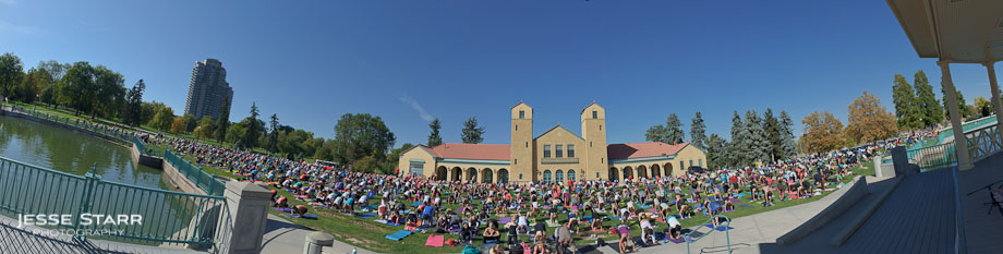 Yoga in the City, City Park, Denver Colorado. Huge free yoga class hosted by Lulumon Athletica and Corepower Yoga