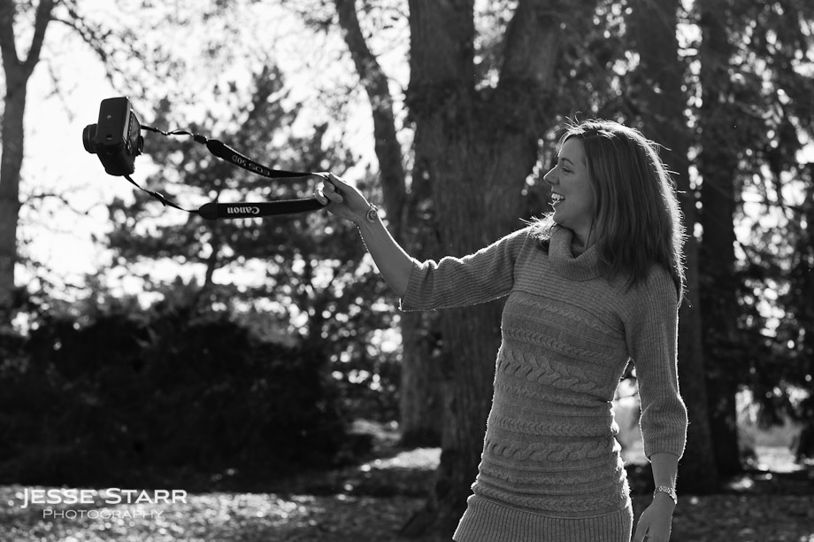 Portrait photography of girl swinging camera in Washington Park, Denver, Colorado