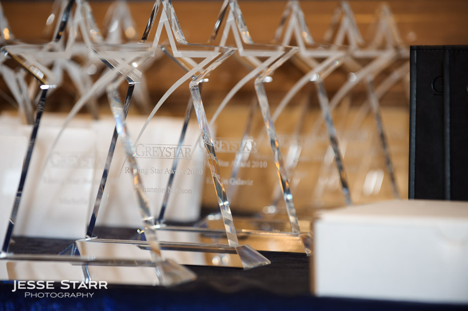 Awards arranged on table during corporate event at the Denver Downtown Aquarium