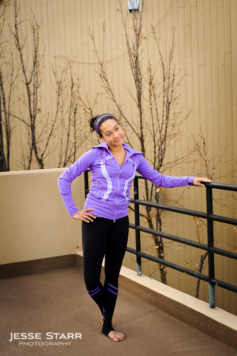 Girl wearing Lululemon Stride Jacket and Yogi Dance Pants