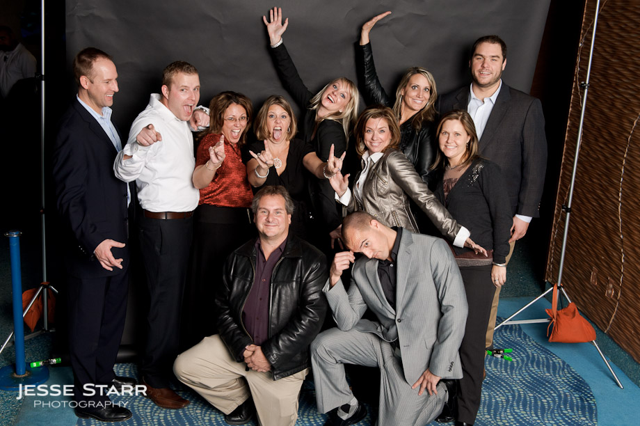 Group photo booth taken during Greystar Property Management corporate event at the Denver Downtown Aquarium