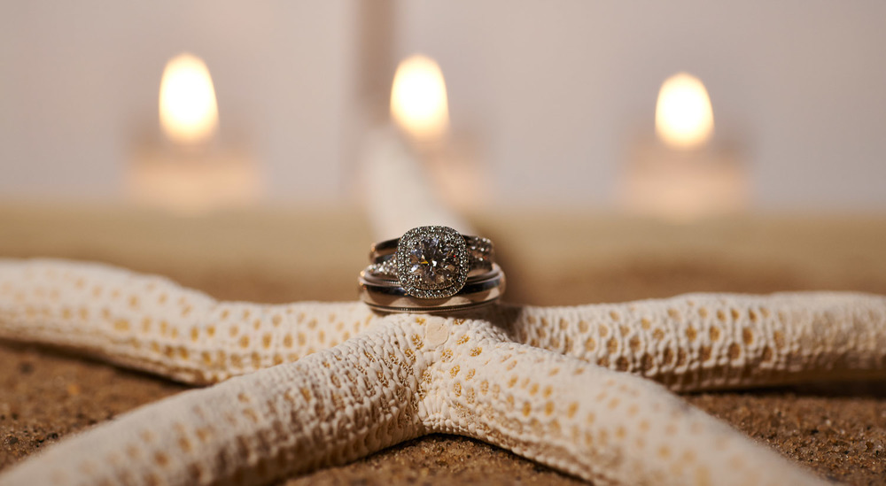 Wedding rings on starfish