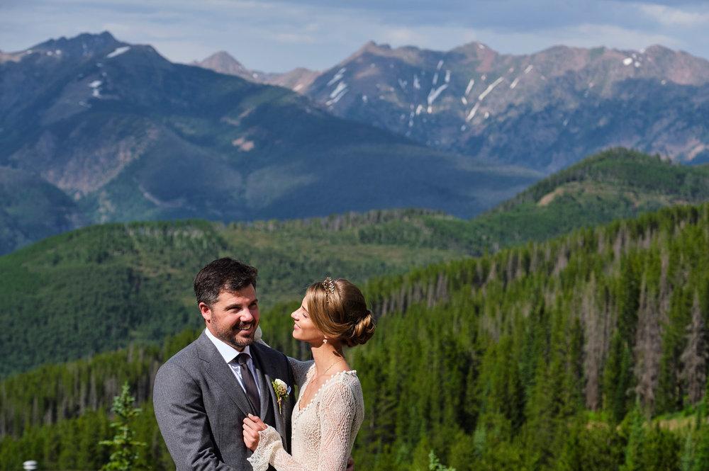 Model Anna Selezneva at her Vail Colorado mountain top wedding.