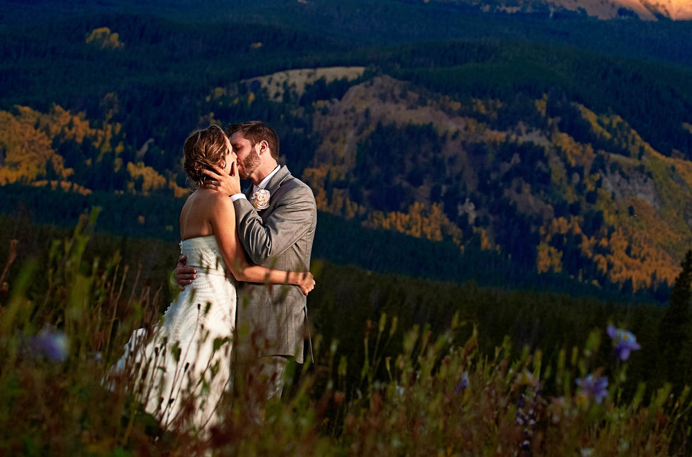 Ten Mile Station wedding with view of Mt Baldy Breckenridge